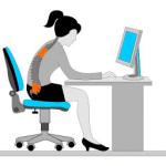 personne mal assise au bureau manque d'etirement